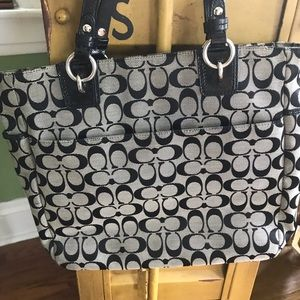 Coach Bags - Used black canvas Coach tote purse